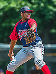 8 July 2014: Lowell Spinners pitcher Mario Alcantara on the mound against the Vermont Lake Monsters at Centennial Field in Burlington, Vermont. The Lake Monsters rallied in the 9th inning to defeat the Spinners 5-4 in NY Penn League action. Mandatory Credit: Ed Wolfstein Photo *** RAW Image File Available ****
