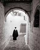 GREECE, Patmos, Chora, Dodecanese Island, portrait a resident monk at the Abbot of St. John's Monastery (B&W)