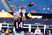 August 9, 2018: New England Patriots wide receiver Braxton Berrios (14) warms up prior to the NFL pre-season football game between the Washington Redskins and the New England Patriots at Gillette Stadium, in Foxborough, Massachusetts.The Patriots defeat the Redskins 26-17. Eric Canha/CSM