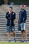 04 October 2016: UNCW's head coach Aidan Heaney (ENG) (right) with assistant coach Zach Haines (right). The University of North Carolina Tar Heels hosted the UNC Wilmington Seahawks at Fetzer Field in Chapel Hill, North Carolina in a 2016 NCAA Division I Men's Soccer match. UNC won the game 1-0.