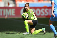 Houston, TX - Saturday May 13, 2017: Sky Blue FC goalkeeper Kailen Sheridan (1) during a regular season National Women's Soccer League (NWSL) match between the Houston Dash and Sky Blue FC at BBVA Compass Stadium. Sky Blue won the game 3-1.