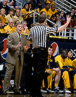 California head coach Mike Montgomery argues with the referee about a bad call during the game against Arizona at Haas Pavilion in Berkeley, California on February 2nd, 2012.  Arizona defeated California, 78-74.