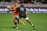 DURBAN, SOUTH AFRICA - JULY 14: Lukhanyo Am of the Cell C Sharks tackling Joaquin Diaz Bonilla of the Jaguares during the Super Rugby match between Cell C Sharks and Jaguares at Jonsson Kings Park on July 14, 2018 in Durban, South Africa. Photo: Steve Haag / stevehaagsports.com