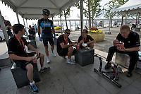 Team SKY enjoys a noodle breakfast before the ITT start. 2011 Tour of Beijing, Stage 1 ITT