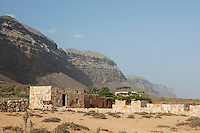 Dese Brho village sitting under the cliffs at Qa'arah Socotra, Yemen