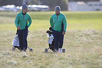 Alex Gleeson and Caolan Rafferty from Ireland on the 11th fairway after Round 1 Foursomes of the Men's Home Internationals 2018 at Conwy Golf Club, Conwy, Wales on Wednesday 12th September 2018.<br /> Picture: Thos Caffrey / Golffile<br /> <br /> All photo usage must carry mandatory copyright credit (© Golffile | Thos Caffrey)