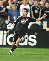 Juan Manuel Pena #3 of D.C. United boots the ball up field during an MLS match against the New England Revolution on April 3 2010, at RFK Stadium in Washington D.C.