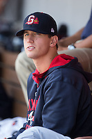 Gwinnett Braves pitcher Lucas Sims (43) watches the action from the dugout during the game against the Charlotte Knights at BB&T BallPark on May 22, 2016 in Charlotte, North Carolina.  The Knights defeated the Braves 9-8 in 11 innings.  (Brian Westerholt/Four Seam Images)