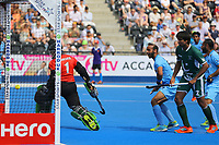 Amjad Ali, the Pakistan goalkeeper is beaten by a Akashdeep Singh during the Hockey World League Semi-Final match between Pakistan and India at the Olympic Park, London, England on 18 June 2017. Photo by Steve McCarthy.
