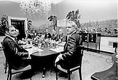 Washington, D.C. - December 22, 1973 -- United States President Richard M. Nixon hosts a meal for the Joint Chiefs of Staff in Washington, D.C. on December 22, 1973. Pictured from left to right: White House Chief of Staff General Alexander M. Haig, Jr.; unidentified; President Nixon; Admiral Thomas H. Moorer, United States Navy, Chairman, Joint Chiefs of Staff; General George S. Brown, United States Air Force; General Creighton W. Abrams, United States Army; and United States Secretary of Defense James R. Schlesinger..Credit: White House via CNP