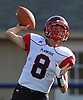Mike Ciuffo #8 of Plainedge throws a pass during a Nassau County Conference III varsity football game against host Bethpage High School on Saturday, Oct. 21, 2017.