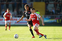Fleetwood Town&rsquo;s Ashley Hunter and Walsall Kory Roberts <br /> <br /> Photographer Leila Coker/CameraSport<br /> <br /> The EFL Sky Bet League One - Fleetwood Town v Walsall - Saturday 5th May 2018 - Highbury Stadium - Fleetwood<br /> <br /> World Copyright &copy; 2018 CameraSport. All rights reserved. 43 Linden Ave. Countesthorpe. Leicester. England. LE8 5PG - Tel: +44 (0) 116 277 4147 - admin@camerasport.com - www.camerasport.com