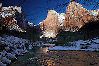 The Patriarchs, winter, Virgin river, Blue Sky, snow, Zion National Park,
