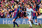 Andres Iniesta of FC Barcelona (L) fights for the ball with Brais Méndez Portela of RC Celta de Vigo (R) during the La Liga 2017-18 match between FC Barcelona and RC Celta de Vigo at Camp Nou Stadium on 02 December 2017 in Barcelona, Spain. Photo by Vicens Gimenez / Power Sport Images