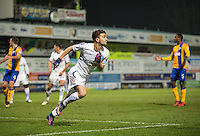 Scott Kashket of Wycombe Wanderers celebrates his goal during the The Checkatrade Trophy  Quarter Final match between Mansfield Town and Wycombe Wanderers at the One Call Stadium, Mansfield, England on 24 January 2017. Photo by Andy Rowland.