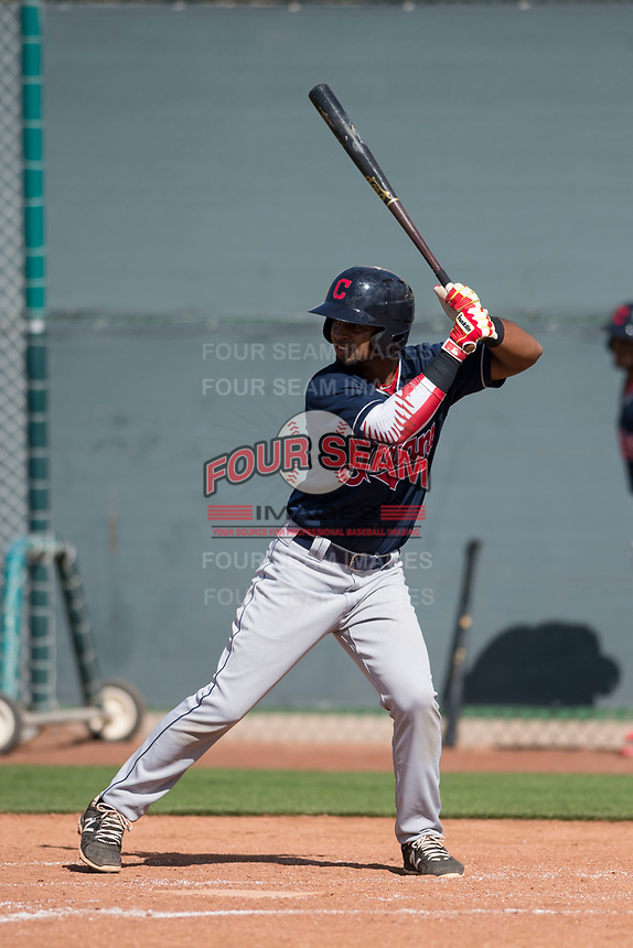 Cleveland Indians third baseman Wilbis Santiago (17) during a Minor League Spring Training game against the San Francisco Giants at the San Francisco Giants Training Complex on March 14, 2018 in Scottsdale, Arizona. (Zachary Lucy/Four Seam Images)