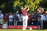 Jordan Spieth (Team USA) on the 16th tee during Saturday afternoon Fourball at the Ryder Cup, Hazeltine National Golf Club, Chaska, Minnesota, USA.  01/10/2016<br /> Picture: Golffile | Fran Caffrey<br /> <br /> <br /> All photo usage must carry mandatory copyright credit (&copy; Golffile | Fran Caffrey)