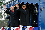 Vice President elect Joe Biden and President elect Barack Obama wave to the crowd gathered at the Edgewood, Md., train station as their train heads from Philadelphia to Washington on Jan. 17, 2009, for Obama's inauguration.