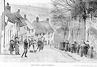 BNPS.co.uk (01202 558833)<br /> Pic: ShaftesburyHistoricalSociety/BNPS<br /> <br /> Pictured: Bonnets and flatcaps, children pose on the famous Gold Hill iin Shaftesbury.<br /> <br /> These charming photos reveal everyday life at the turn of the 20th century in a thriving market town later made famous by a TV advert.<br /> <br /> The black and white snapshots of Shaftesbury, Dorset, were taken by Albert Tyler who set up a photography business there in 1901.<br /> <br /> There are various street scenes and also images of the locals in traditional attire, with men in flatcaps and women in bonnets.<br /> <br /> Tyler photographed the busy opening of the town market in 1902, and a garden party where men played croquet.