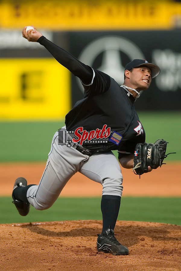 Kannapolis starting pitcher Faustino De Los Santos (43) in action versus Greensboro at First Horizon Park in Greensboro, NC, Sunday, May 27, 2007.  The Intimidators defeated the Grasshoppers 6-5.