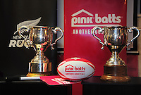 The Meads and Lochore Cups on display during the Pink Batts Heartland Championship 2013 season launch at Waikanae RFC, Waikanae, New Zealand on Tuesday, 13 August 2013. Photo: Dave Lintott / lintottphoto.co.nz