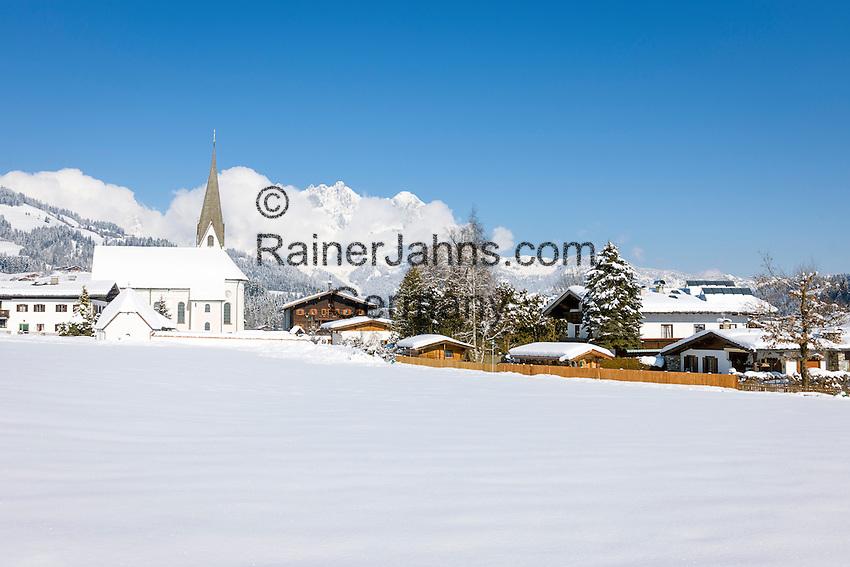 Austria, Tyrol, Reith near Kitzbuhel at Brixen Valley: at background Wilder Kaiser mountains   Oesterreich, Tirol, Reith bei Kitzbuehel im Brixental: im Hintergrund der Wilde Kaiser
