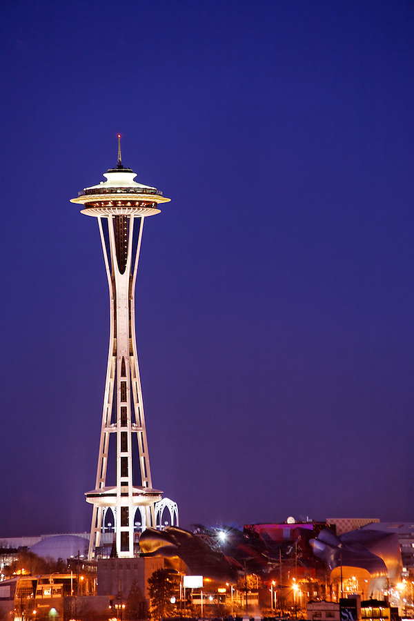 The Seattle Space Needle stands under a twilight sky, Seattle, Washington, USA