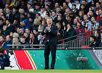 1st March 2020; Wembley Stadium, London, England; Carabao Cup Final, League Cup, Aston Villa versus Manchester City; Aston Villa Manager Dean Smith shouting instructions to his players from the touchline