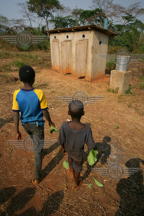 Community latrine. Leaves are used in lieu of toilet paper.
