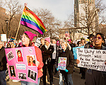 February 11, 2017. Raleigh, North Carolina.<br /> <br /> Terry Wingenroth, left, listens to the speakers at the HKNONJ rally before the march. <br /> <br /> Thousands gathered in downtown Raleigh for the annual HKONJ People's Assembly, a civil rights march tied to the Moral Monday movement. Supporters from around the state gathered to march and speak out against nationwide attacks on civil rights and the Trump administration.<br /> <br /> Jeremy M. Lange for The New York Times