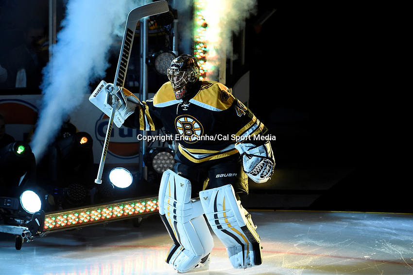 Thursday, October 8, 2015: Boston Bruins goalie Tuukka Rask (40) takes the ice for the season opening game between the Winnipeg Jets and the Boston Bruins held at TD Garden, in Boston, Massachusetts. Winnipeg defeated Boston 6-2 in regulation time. Eric Canha/CSM