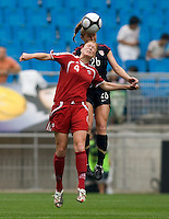USWNT defender (26) Rachel Buehler goes up for a header against  Canada's (4) Clare Rustad during the finals of the Peace Queen Cup.  The USWNT defeated Canada, 1-0, at Suwon World Cup Stadium in Suwon, South Korea.