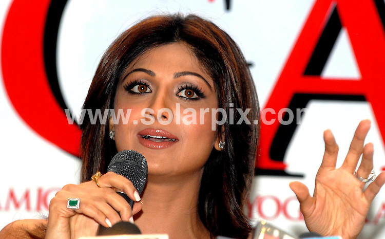 """**ALL ROUND PICTURES FROM SOLARPIX.COM**.**WORLDWIDE SYNDICATION RIGHTS**.Big Brother winner and Indian film actress Shilpa Shetty  during the of release her DVD """"Shilpa'a Yoga - The Secret of her fitness of a sound Mind & Sexy Body"""", during a press conference in New Delhi, India on Friday, 6th June, 2008..JOB REF: 6616 SJA        DATE: 06_06_2008.**MUST CREDIT SOLARPIX.COM OR DOUBLE FEE WILL BE CHARGED* *UNDER NO CIRCUMSTANCES IS THIS IMAGE TO BE REPRODUCED FOR ANY ONLINE EDITION WITHOUT PRIOR PERMISSION*"""