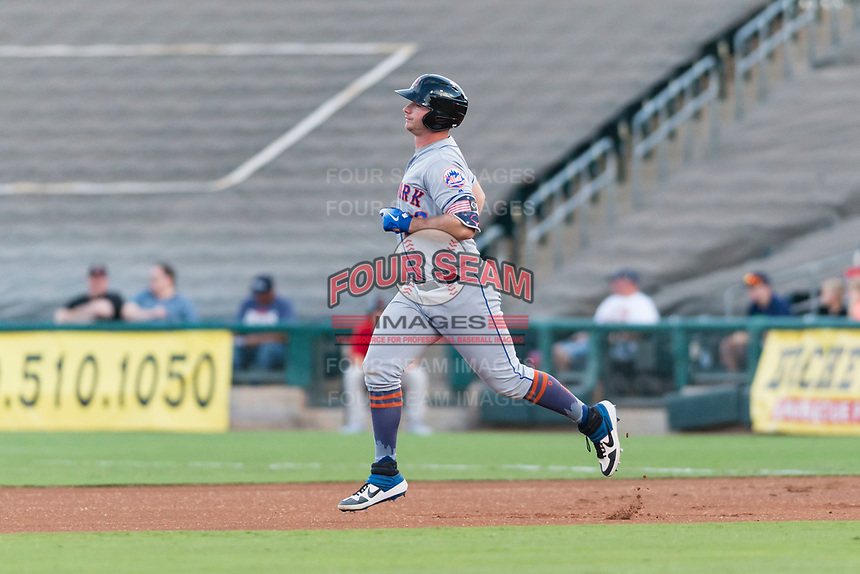 AFL East first baseman Peter Alonso (20), of the Scottsdale Scorpions and the New York Mets organization, rounds the bases after hitting a home run in the first inning during the Arizona Fall League Fall Stars game at Surprise Stadium on November 3, 2018 in Surprise, Arizona. The AFL West defeated the AFL East 7-6 . (Zachary Lucy/Four Seam Images)