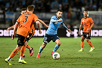31st January 2020; Netstrata Jubilee Stadium, Sydney, New South Wales, Australia; A League Football, Sydney FC versus Brisbane Roar; Kosta Barbarouses of Sydney runs through the Brisbane defence as Corey Brown moves to challenge