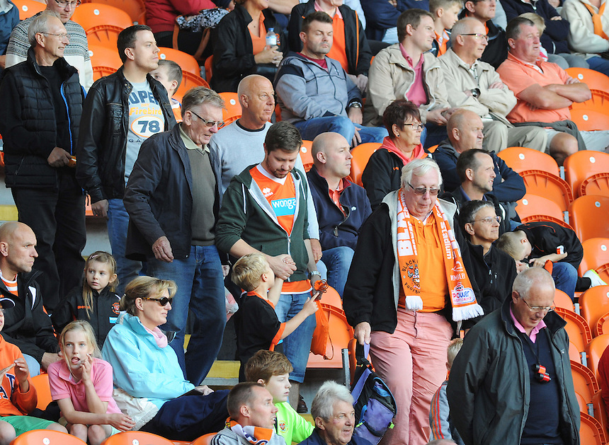 Blackpool fans head for the exits after Rochdale score a 2nd goal late in the game<br /> <br /> Photographer Kevin Barnes/CameraSport<br /> <br /> Football - The Football League Sky Bet League One - Blackpool v Rochdale - Saturday 15th August 2015 - Bloomfield Road - Blackpool<br /> <br /> &copy; CameraSport - 43 Linden Ave. Countesthorpe. Leicester. England. LE8 5PG - Tel: +44 (0) 116 277 4147 - admin@camerasport.com - www.camerasport.com