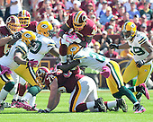 Washington Redskins running back Ryan Torain (46) goes airborne during a first quarter run against the Green Bay Packers at FedEx Field in Landover, Maryland on Sunday, October 10, 2010.  The Redskins won the game 16 - 13..Credit: Ron Sachs / CNP