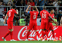 MOSCU - RUSIA, 03-07-2018: Harry KANE (#9) jugador de Inglaterra celebra después de anotar el primer gol de su equipo a Colombia durante partido de octavos de final por la Copa Mundial de la FIFA Rusia 2018 jugado en el estadio del Spartak en Moscú, Rusia. / Harry KANE (#9) player of England celebrates after scoring the first goal of his team to Colombia during match of the round of 16 for the FIFA World Cup Russia 2018 played at Spartak stadium in Moscow, Russia. Photo: VizzorImage / Julian Medina / Cont