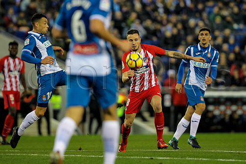 22nd December 2017, Cornella-El Prat, Cornella de Llobregat, Barcelona, Spain; La Liga football, Espanyol versus Atletico Madrid; Saul Ñiguez of Atletico tries to get into a shooting position at top of the box