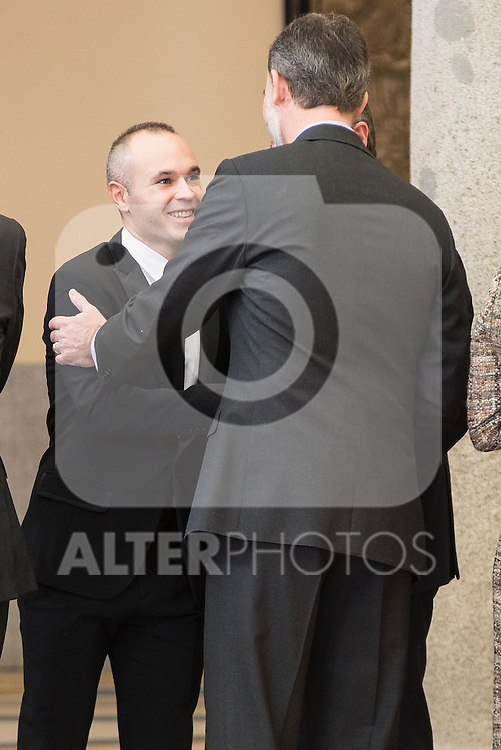 Andres Iniesta and King Felipe VI of Spain attends to the National Sports Awards 2015 at El Pardo Palace in Madrid, Spain. January 23, 2017. (ALTERPHOTOS/BorjaB.Hojas)