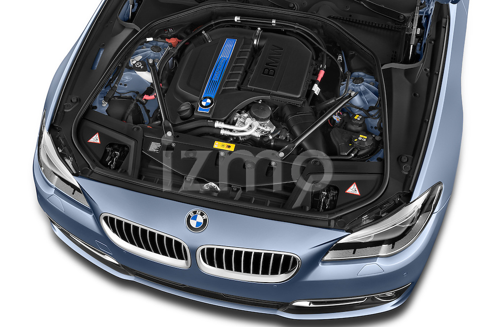 Car Stock 2015 BMW SERIES 5 ActiveHybrid 5 Luxury 4 Door Sedan Engine high angle detail view