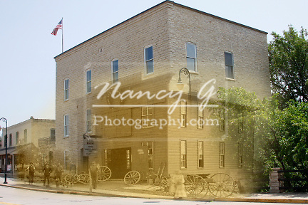 Composite image of a 1890 John Fye Blacksmith shop located on Main Street next to Menomonee River and later replaced by a Mill 1891 in Menomonee Falls WI