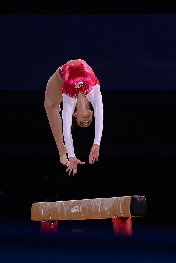 Gymnastics artistic women's AA final.  Pictured is Malaysia's Farah Ann Abdul Hadi<br /> <br /> Photographer Chris Vaughan/CameraSport<br /> <br /> 20th Commonwealth Games - Day 7 - Wednesday 30th July 2014 - Gymnastics - The SSE Hydro - Glasgow - UK<br /> <br /> &copy; CameraSport - 43 Linden Ave. Countesthorpe. Leicester. England. LE8 5PG - Tel: +44 (0) 116 277 4147 - admin@camerasport.com - www.camerasport.com