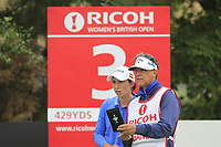 Carlota Ciganda (ESP) on the 3rd tee during Round 3 of the Ricoh Women's British Open at Royal Lytham &amp; St. Annes on Saturday 4th August 2018.<br /> Picture:  Thos Caffrey / Golffile<br /> <br /> All photo usage must carry mandatory copyright credit (&copy; Golffile | Thos Caffrey)