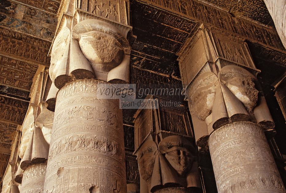 Afrique/Egypte/Dendérah: Le temple d'Hathor (déesse du ciel) - Représentation de Bes (dieu de l'humour)
