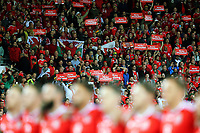 Wales fans sing the national anthem over the Wales team during the FIFA World Cup Qualifier Group D match between Wales and Republic of Ireland at The Cardiff City Stadium, Wales, UK. Monday 09 October 2017