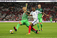 Aljaz Struna of Slovenia under pressure from Raheem Sterling of England during the FIFA World Cup 2018 Qualifying Group F match between England and Slovenia at Wembley Stadium on October 5th 2017 in London, England. <br /> Calcio Inghilterra - Slovenia Qualificazioni Mondiali <br /> Foto Phcimages/Panoramic/insidefoto