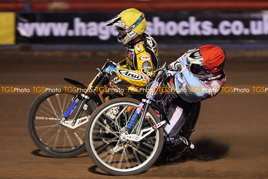 Heat 2 re-run: Ricky Wells (yellow) and Robert Mear (red) - Lakeside Hammers vs Wolverhampton Wolves - Elite League Speedway at Arena Essex Raceway - 01/04/11 - MANDATORY CREDIT: Gavin Ellis/TGSPHOTO - Self billing applies where appropriate - Tel: 0845 094 6026