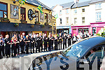 FINAL JOURNEY: The remains of Bill Kirby.outdide the Brogue Inn.Tralee on Tuesday morning.