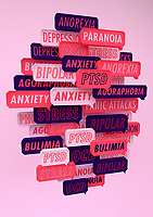 Lots of speech bubbles about different mental health issues